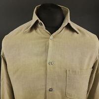 Trussardi Mens Shirt SMALL Long Sleeve Beige Regular Fit No Pattern Cotton