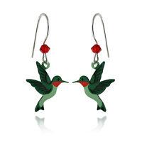 Hummingbird Earrings - 925 Sterling Silver Ear Wires - Small Birds Jewelry NEW