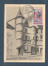 carte  1er jour  journée du timbre  52 Chaumont   1962