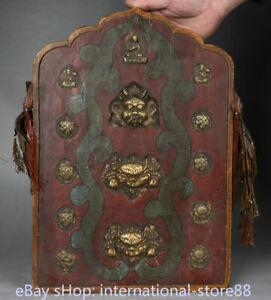 17.2 inch Old Tibet Brass Wood Redpoll Winged Garuda Bird Eagle Buddha Shrine
