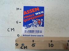 STICKER,DECAL ASSEN IJSSPEEDWAY  FINALE WK 1991 HOLLAND A