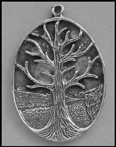 PEWTER CHARM #355 TREE OF LIFE (30mm x 22mm) Oval Spiritual 1 bail pendant