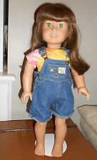 American Girl Doll Long Brown Hair and Bangs, Green Eyes, Single Stroke Eyebrow