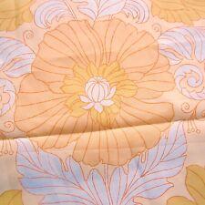 100cm x150cm  vintage Nylon Curtain Fabric 1960S Art Nouveau Orange Swirl Poppy