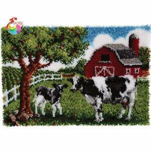 "Latch hook DIY rug kit ""Farm & Cows"" approx 100x73cm"