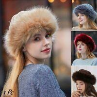 US Womens Russian Fluffy Faux Fox Fur Hat Unisex Winter Ear Warmer Ski Hats Cap