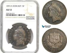 AE245, Dominican Republic, 5 Francos 1891-A, Paris, Silver, NGC AU53