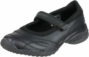 Girls Skechers BTS Velocity Pouty Shoes Strap Leather School Shoe Trainers Black