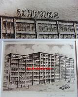 Radierung um 1960: SCHERING-Verwaltungsgebäude BERLIN, Müllerstr. / E. Grünwald
