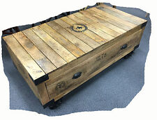 Wheelie 1200x600 Rustic 1 Drawer Solid Mango Hardwood Coffee Table - BRAND NEW