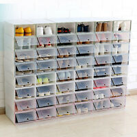 Stackable Dustproof Clear Flip-Type Shoes Storage Container Box Organizer Sanwoo