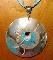 Pendant SHELL Russian Hand Painted Edgar Degas 'Swaying Dancer' in Green signed