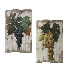 GRAPES WOODEN WALL DECOR 2PC ~ WOODEN PLAQUES VINEYARD~ FRENCH / ITALIAN BISTRO