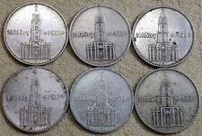 UNIQUE 6 x Full Mint Set 2 Mark Potsdam Garrison Church 1934 Nazi Silver Coin L1