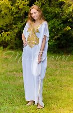 White Moroccan Abaya Sexy Kaftan Maxi Dress With Gold Embroidery Fits Up To 2XL