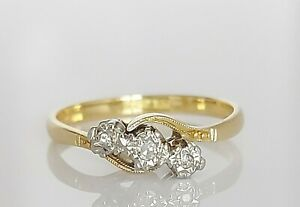 Beautiful Antique Art Deco 18ct Gold & Platinum Diamond Trilogy Ring UK M 2.1g