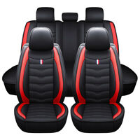 Black/Red Luxury Leather Car Seat Cover Set Universal Front Rear Back Full Cover