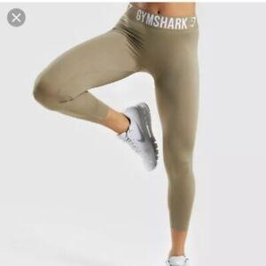 BRAND NEW Gymshark Fit Leggings Women's Small Washed Khaki/White High-Rise