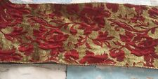 "6 Yard Roll Of 6""/150mm Antique Rose Jacquard Ribbon Trim Gold & Red Christmas"