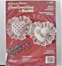 Bucilla Candlewicking Kit Little Hearts Gallery of Stitches 2 Sachet Pincushions
