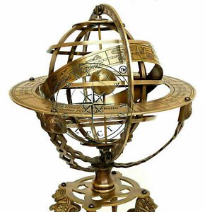 Nautical Brass Sphere Engraved Armillary Antique Vintage Astrolabe Compass