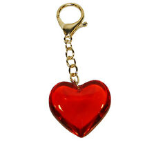 RED GLASS HEART KEYCHAIN