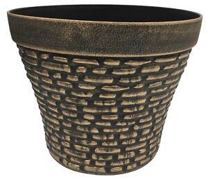 Large Antique Copper Planter Plant Pot Flower Pot Round Pebble Finish