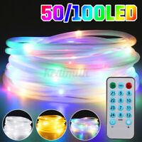 33ft 100LED USB RGB Rope Light String 8 Modes Fairy String Garden Room Xmas Deco