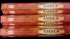 AMBER 3 Boxes of 20 = 60 HEM Incense Sticks Bulk Fragrance ~ India