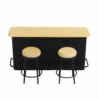 1/12 Scale Dolls House Emporium Black & Pine Pub Counter Bar & 2 Stools set 9235