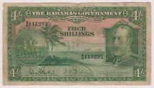 Bahamas 4 Shillings L. 1919 1930 ND P5 King George V Ancient Sailing Ship Rare