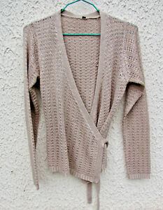 *Gilet tricot dentelle beige, taille 2