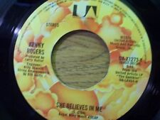 """KENNY ROGERS 45 RPM """"She Believes in Me"""" & """"Morgana Jones"""" VG condition"""