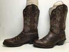 VTG WOMENS ARIAT ATS SQUARE TOE COWBOY BROWN BOOTS SIZE 7.5 C