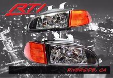 92-95 Honda Civic Glass Black Headlights + City Light SiR + Amber Corner 2/3