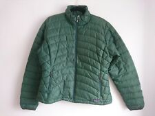 Ladies Patagonia Green Goose Down Sweater Jacket Size Large Quilted Puffer Coat