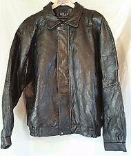 Men's Milan Black Leather Bomber Style Jacket Sz. 3XL