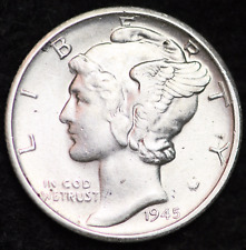 1945-S AU MERCURY DIME / SAN FRANCISCO MINT ALMOST UNCIRCULATED 90% SILVER COIN