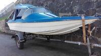 Motorboot Sportboot mit Straßentrailer + Fahrpersenning