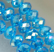 Wholesale Faceted Crystal Loose Charm Glass Beads Lake blue AB 6*8mm 70pc