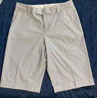 Banana Republic Sz 4 Martin Fit Gray&White Stripe Cuffed Bermuda Shorts NWOT