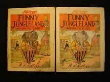 Vintage 1909 W.K.Kellogg's FUNNY JUNGLELAND moving pictures book LOT of 2