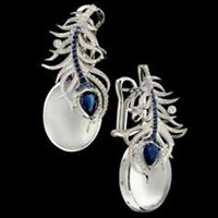 925 Silver Moonstone&Blue Sapphire Women Prom Jewelry Gift Ear Dangle Earrings