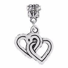 Joined Hearts Soul Mate True Love Dangle Charm for Silver European Bead Bracelet