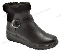 New Women's Winter Boots Buckle Fashion Zipper Ankle Warm Fur Lined Shoes, Sizes