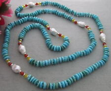 57'' turquoise Red Agate  White Pearl Necklace