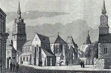 Antique woodcut print kerk st. Aubin te Namen Belgium / gravure Namur 1882