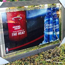 "Bud Light Miami Heat Basketball NBA Beer Bar Man Cave Pub Mirror ""New"