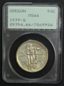 1939 S Oregon Trail Silver Commemorative Half Dollar Rattler PCGS MS 66