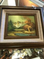 Vinatge Framed Matted And Signed TOMAS Mountain Scene Cabin, Trees OIl Painting